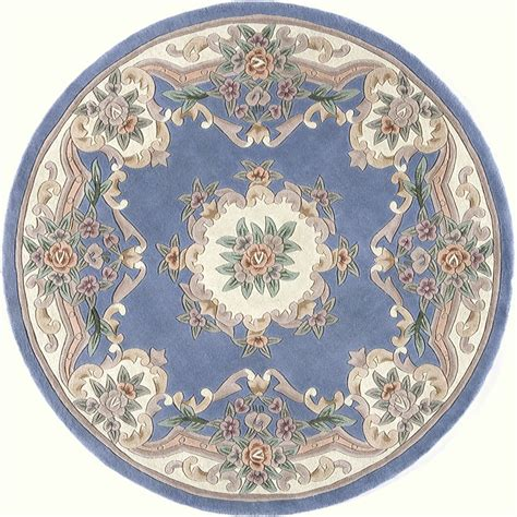 blue aubusson rug shop rugs america new aubusson light blue indoor tufted area rug actual 6 ft dia at