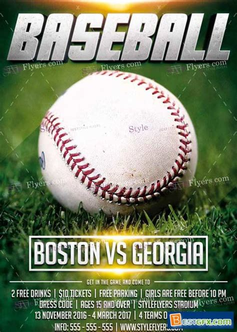 Baseball League Psd V11 Flyer Template 187 Free Download Ae Project Vector Stock Web Template Baseball League Website Template