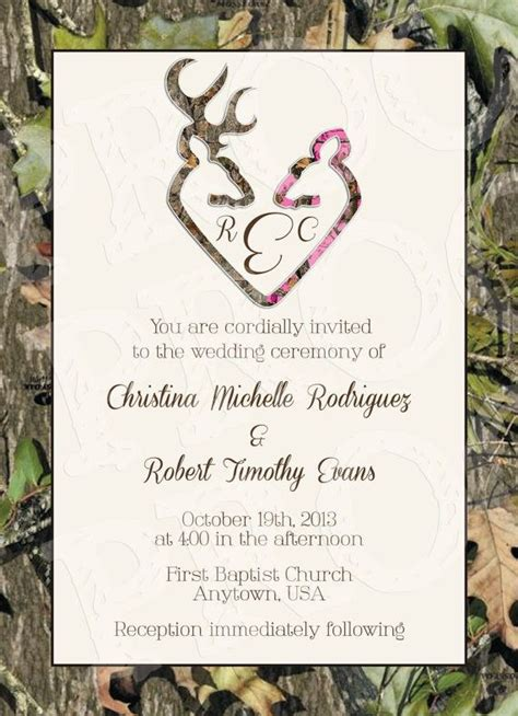 camo deer hearts wedding invitation  rsvp card  mrsprint wedding ideas pinterest