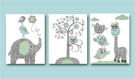 Elephant Wall Decor For Nursery Baby Boy Nursery Print Nursery Wall Wall Decor