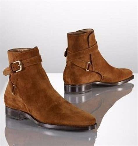 suede boot mens handmade brown jodhpurs ankle boot genuine suede