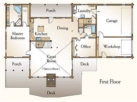 4 bedroom log home floor plans 4 bedroom open house plans