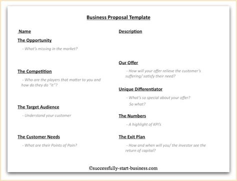 assistant business plan template a 10 point business template on http www