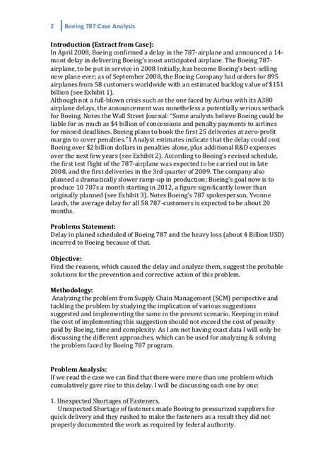 Boeing Analysis by Case Analysis Boeing 787