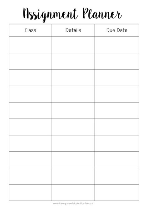printable exam planner image gallery homework tracker printable