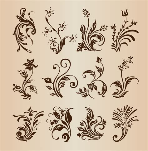 floral design elements vector collection of vector floral design elements free vector