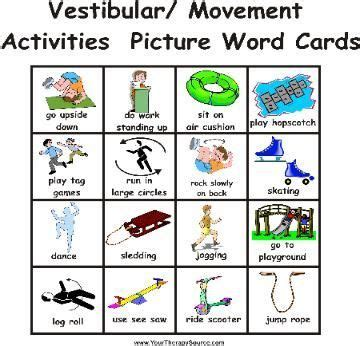 safety pin movement card template this movement card depicts many vestibular activities