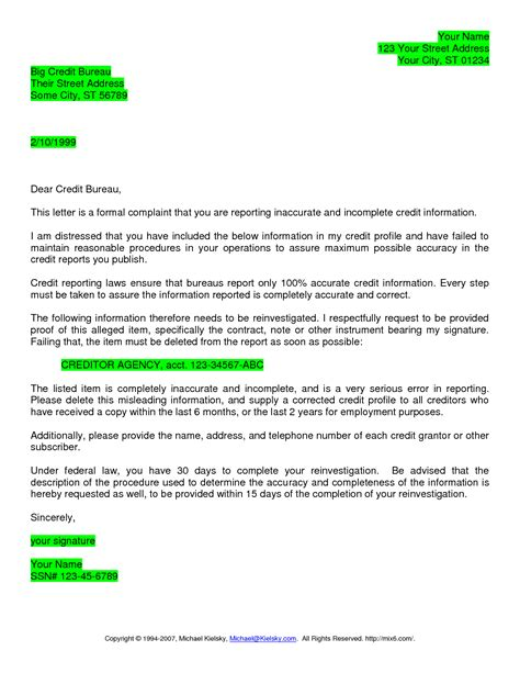 Credit Bureau Dispute Letter Crna Cover Letter Free Sle Credit Repair Letters And Templates