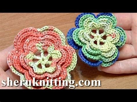 crochet layered flower pattern youtube layered crochet flower tutorial 24 part 2 of 2 youtube