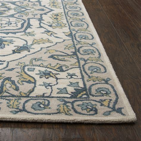 yellow and teal rug valintino ornamental foliage wool area rug in ivory yellow teal 8 x 10