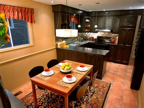 small kitchen and dining room combination makeovers peninsula kitchens hgtv