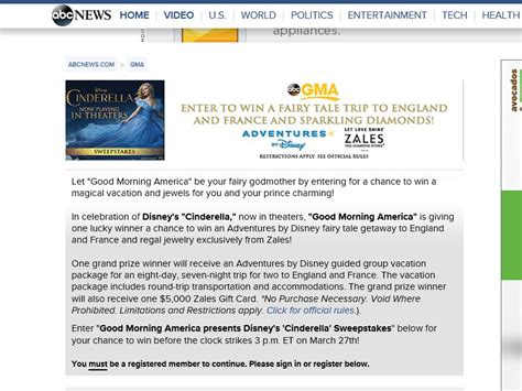 Gma Sweepstakes - good morning america presents the disney s cinderella sweepstakes