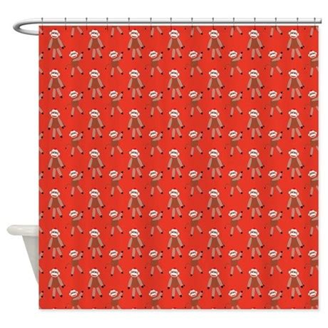 sock monkey shower curtain red sock monkey shower curtain by homedecorators