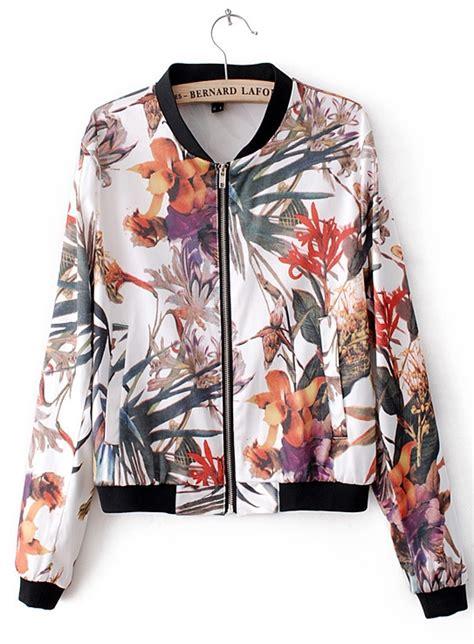 Flow Bomper Jaket white sleeve flowers print bomber jacket sheinside