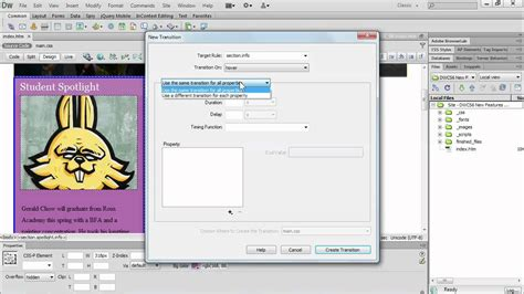 tutorial in dreamweaver cs6 dreamweaver cs6 how to create css transitions lynda com
