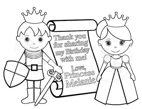 coloring pages knights and princesses personalized printable princess prince knight scroll