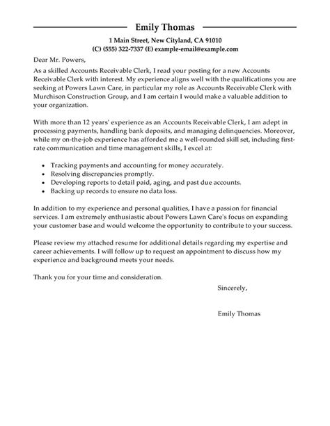 Cover Letter For Accounting Clerk Leading Professional Accounts Receivable Clerk Cover Letter Exles Resources