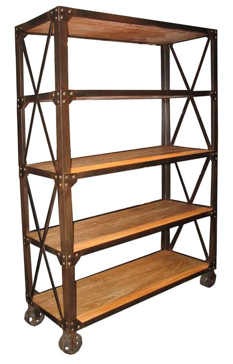 78 quot tall bookcase elm wood 5 shelves rusty metal on