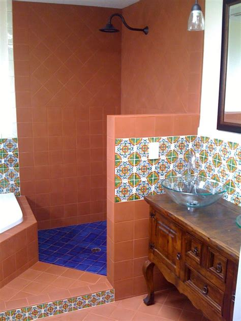 terracotta mexican tile in a shower mexican home decor