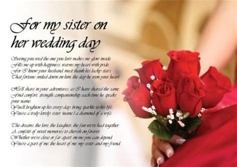 Details about Personalised Poem Poetry for my Sister Bride