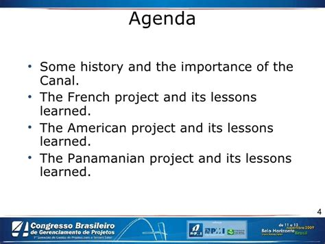 Lessons Learned From Mba Program by The Three Projects Of The Panama Canal Brasil Pptx