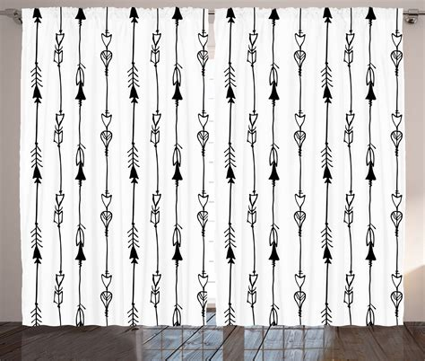 graphic print curtains sketch effect graphic print arrows pattern boho tribal art
