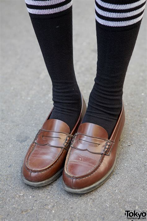 japanese loafers japanese school w plaid skirt tie loafers