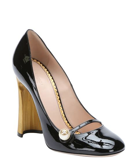 Gucci Mj gucci black patent leather pearl detail pumps in black lyst