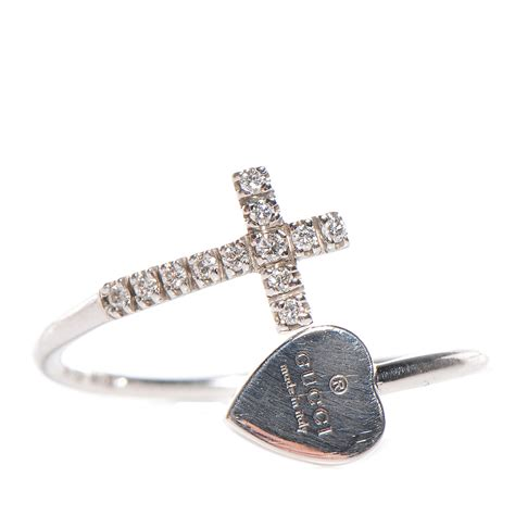 GUCCI 18k White Gold Diamond Heart Cross Ring 6.5 89905 White Gucci Shoes For Men