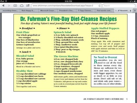 Http Www Eatthis Best One Day Detox Cleanse Diet by Dr Joel Fuhrman S Five Day Diet Cleanse Recipes Health