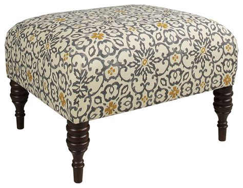 yellow and gray ottoman june 25 quot ottoman gray yellow floral contemporary