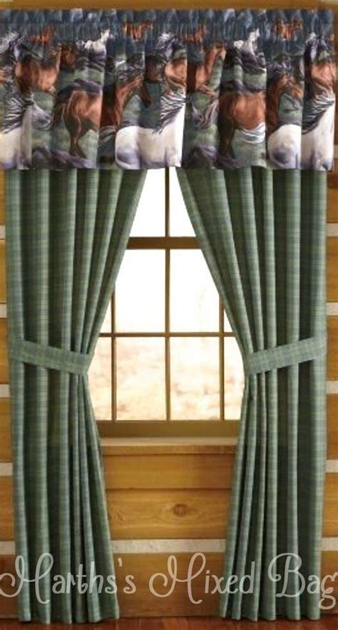 western horse pony equine plaid  piece window treatment  curtain drapes ebay