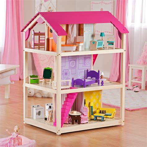 girls wooden dolls house kidkraft so chic dollhouse 65078 toy dollhouses at hayneedle