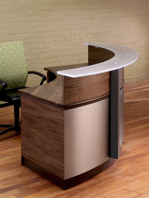 Wrap Around Reception Desk Modern Wood And Glass Reception Desk