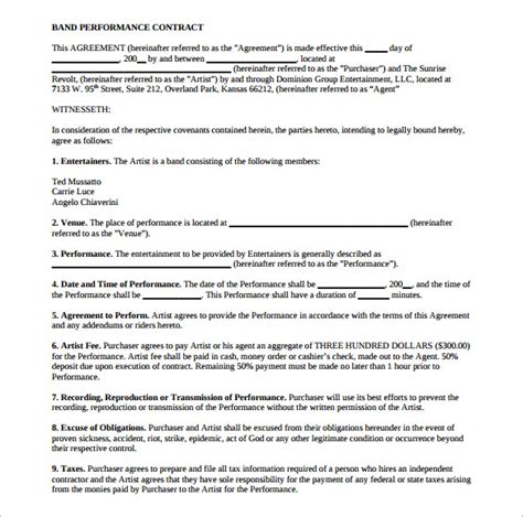 Performance Agreement Letter Exle Band Contract Template 17 Free Sles Exles Format