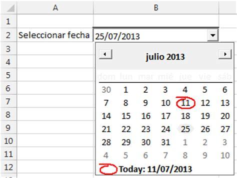 mostrar control de calendario al elegir una celda en excel