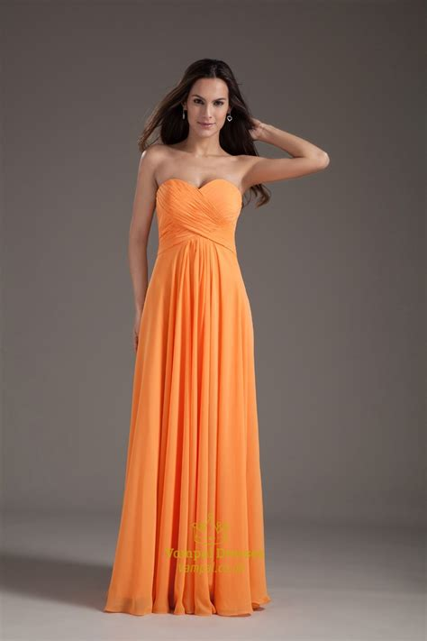 Orange Bridesmaid Dress by Gorgeous Orange Sweetheart Strapless Ruffles Summer