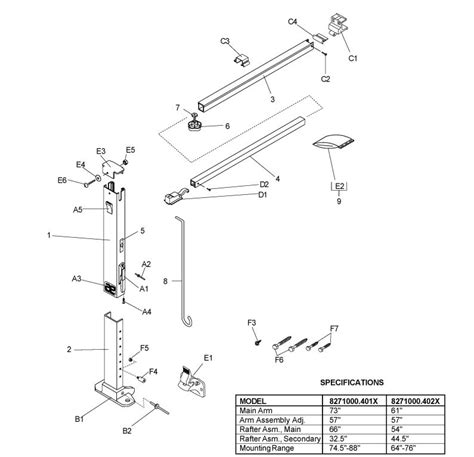 dometic sunchaser awning replacement parts a e 8500 awning parts diagram pictures to pin on pinterest