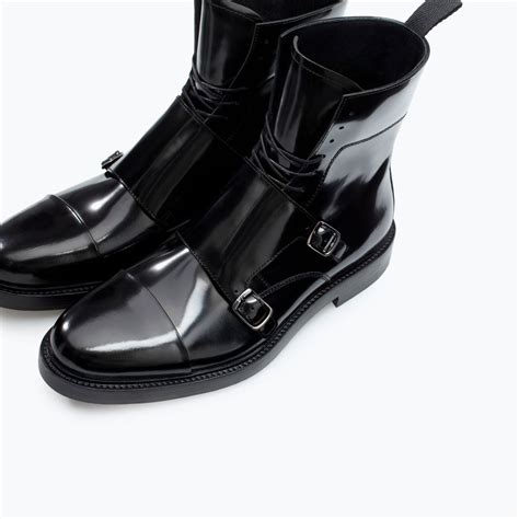 zara boots mens leather boot with buckles boots and ankle boots shoes