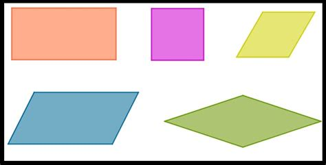 how many four sided figures appear in the diagram below geometry review the parallelograms