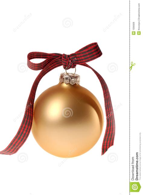 gold christmas ornament glass ball  plaid ribbon stock