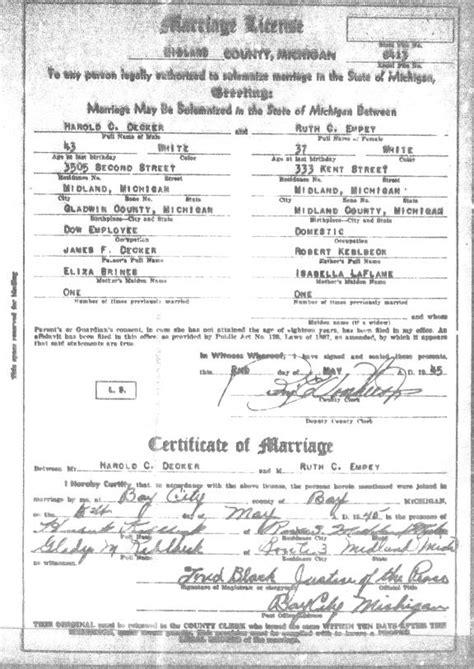 Michigan marriage lisence