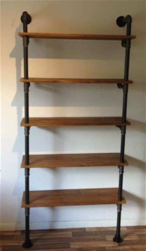vintage industrial gas pipe bookcase shelf unit