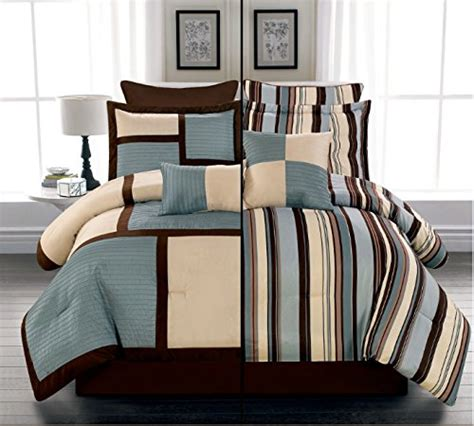 8 piece luxury reversible blue beige and brown stripe