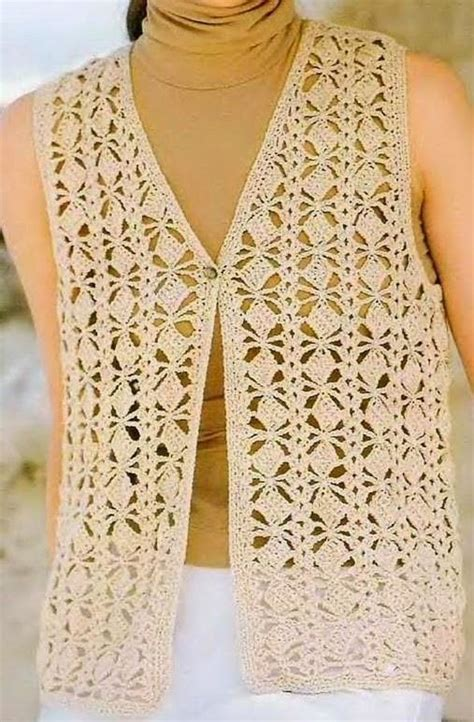 chaleco crochet para mujer abierto con botones paso a paso chaleco puntada cuadritos a crochet crochet pinterest