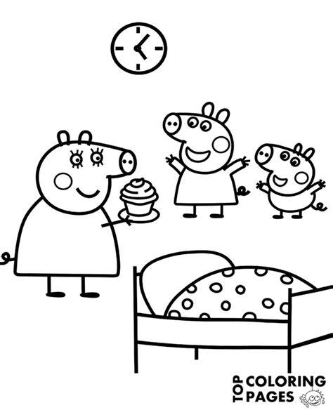 Peppa George And Mommy Pig On Free Coloring Page