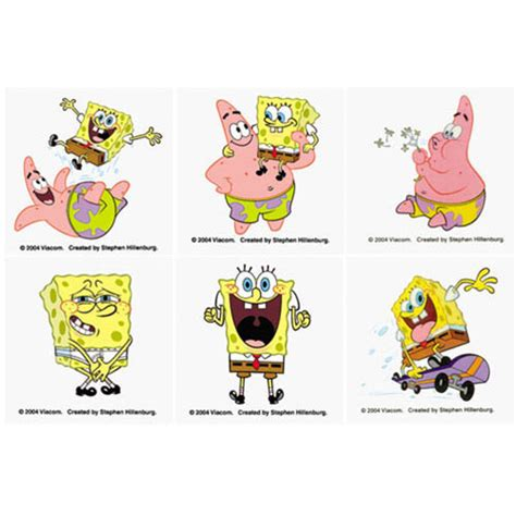 Tato Tatto Temporary Tatto Kecil Tatto Spongboe 10 5x6 Cm X 208 spongebob squarepants temporary tattoos giggletimetoys