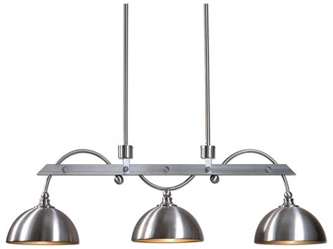 Industrial Style Island Lighting Uttermost Malcolm Satin Nickel Three Light Industrial