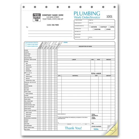 Plumbing Invoice Forms Free Shipping Plumbing Estimate Template