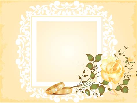 Wedding Photo Album Powerpoint Templates Border Frames Flowers Yellow Free Ppt Wedding Powerpoint Templates